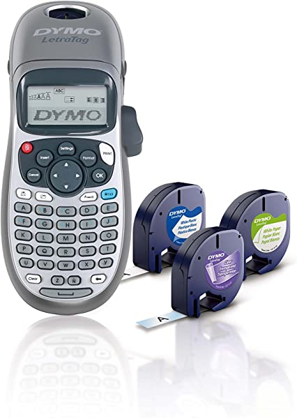 DYMO Label Maker With 3 Bonus Labeling Tapes LetraTag 100H Handheld Label Maker LT Label Tapes Easy To Use Great For Home Office Organization