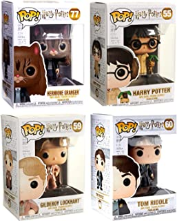Funko Polyjuice & Herbology Harry Potter Pop! Figure Character Wizard Collectibles Hermione as a cat Bundled with & Harry Earmuffs + Tom Riddle & Gilderoy Lockheart Vinyl 4 Items Wizard Collectibles