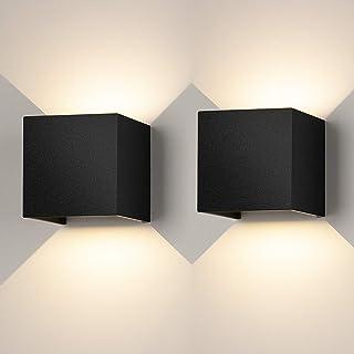 2 Pcs Apliques Pared Interior LED Lámpara de Pared Moderna Regulable Lampara Pared con Luz Tricolor Aplique cuadrado Pared Negro IP65 Impermeable