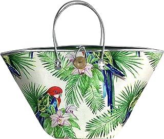 Floranova Shopper Handtasche Damen Printmuster Blumen Papagai