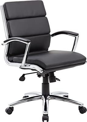 Boss Office Products Executive Mid Back CaressoftPlus Chair with Metal Chrome Finish in Black