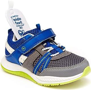 Stride Rite Boy's Blitz Running Shoe, Grey/Blue, 6 Toddler