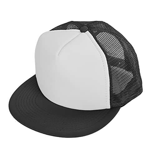 290a7bf02e3 DALIX Flat Billed Trucker Cap with Mesh Back M L XL Adjustable Hat (in 14  Colors