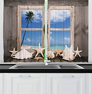 Ambesonne Beach Kitchen Curtains, Summer Holiday with Seashells Starfish and Palm Tree Ocean Print, Window Drapes 2 Panel Set for Kitchen Cafe Decor, 55