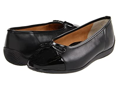 ara Bella (Black Leather w/Patent Toe) Women