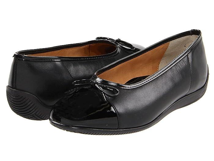 ara  Bella (Black Leather withPatent Toe) Womens Dress Flat Shoes