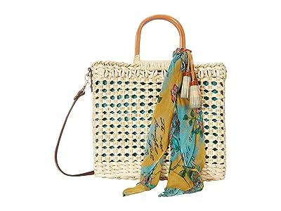Patricia Nash Ceriana Straw Tote (Natural/BG Scarf) Bags