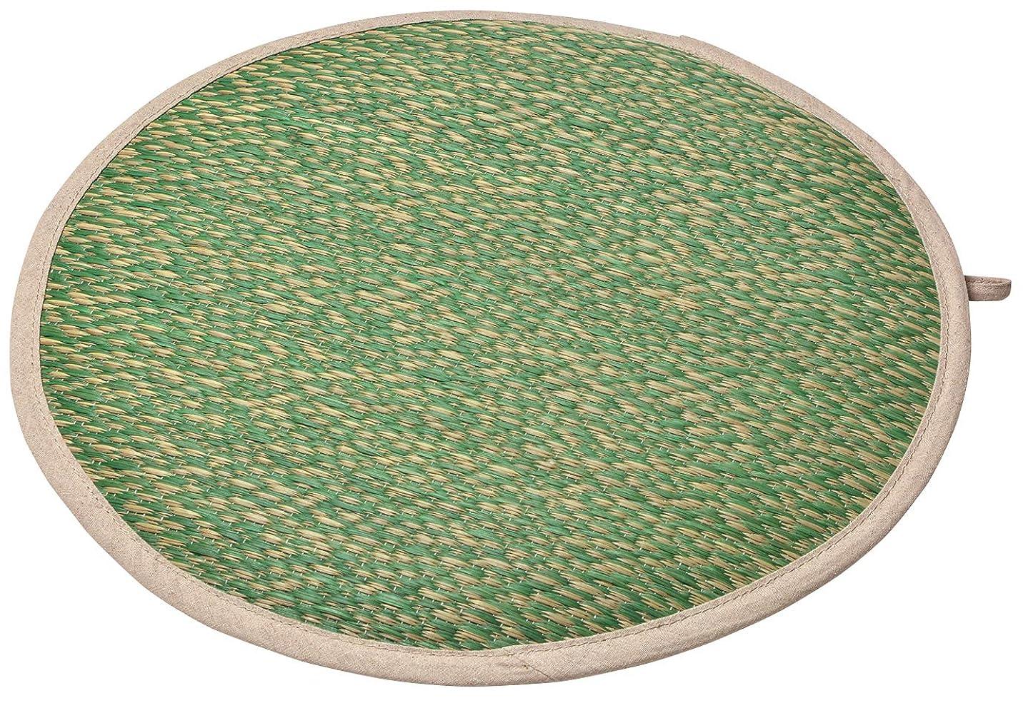 物理的な再開萩原 座布団 グリーン 直径約40×H2cm い草チェアパット 「シャイン」 81938725