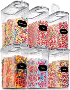 Large Dry Food Storage Containers with Lids, PRAKI 6PCS Airtight Cereal Storage Containers, Leak-proof Canister Set for Sugar, Flour, Snack, Baking Supplies with 20 Lables & Marker ((4L Grey)