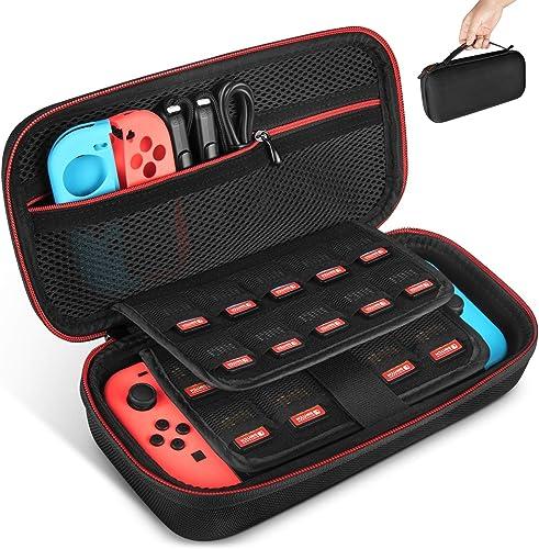 Keten Etui pour Nintendo Switch, Portable Housse de Transport de Voyage avec Espace de Stockage pour 19 cartes de Jeu...
