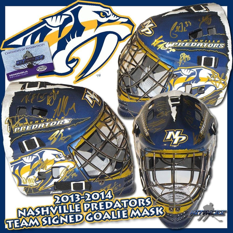 Nashville Predators Team Signed Full Size Goalie Mask  w COA  Autographed NHL Helmets and Masks