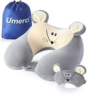 Memory Foam Animal Travel Pillow, Comfortable Neck Pillow with Cute Eye Mask Lightweight Traveling Pillow for Airplane, Car, Train, Bus and Home Use Mouse