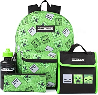 Minecraft Backpack Creeper 4 Piece Kids Green School Rucksack Set