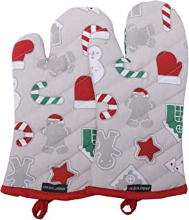 KRN Furnishing Oven Mitts, Christmas Fun Design, Oven Mitts Heat Resistant, Made of 100% Cotton, Eco-Friendly & Safe, Set of 2, Oven Mitt Size 7 x 13 Inches, Machine Washable, Kitchen Oven Mitts
