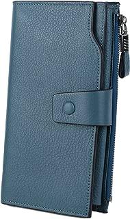 Genuine Leather Wallet Women's RFID Blocking Large Capacity Luxury Wax Clutch Multi Card Organizer