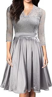 Women Vintage 1930s Style 3/4 Sleeve Black Lace A-line Party Wedding Dress