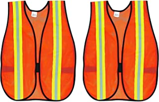 MCR Safety V201R Polyester Mesh General Purpose Safety Vest with 2-Inch Lime/Silver Reflective Stripe, Fluorescent Orange (1, Twо Pаck)