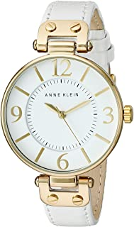 Women's 109168WTWT Gold-Tone and White Leather Strap Watch