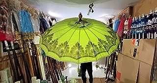 Large Green Waterproof Umbrella, Bali Umbrella, Wedding Umbrella, Asian Umbrella, Henna Party Beach Umbrella, Indian Umbrella, Unique Import