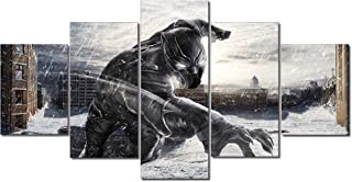 Black Panther Canvas Posters Home Decor Wall Art Framework 5 Pieces Paintings for Living Room HD Prints Pictures