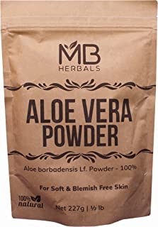 MB Herbals Aloe Vera Powder 227g | Half Pound | 100% Pure & Organically Cultivated Aloevera Powder | Natural Skin Moisturizer | Controls Blemish Acne Pimples & Fine Lines | EXTERNAL USE ONLY