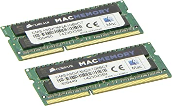 Corsair CMSA8GX3M2A1066C7 Apple 8 GB Dual Channel Kit DDR3 1066 (PC3 8500) 204-Pin DDR3 Laptop SO-DIMM Memory 1.5V
