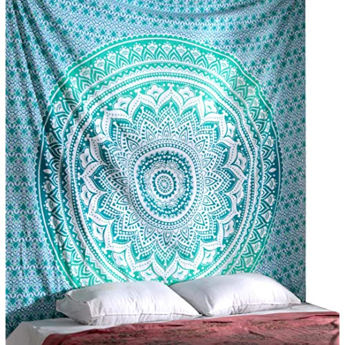 Turquoise Blue Mandala Tapestry hippie Tapestries Boho Bohemian Indian Wall Hanging By Rajrang