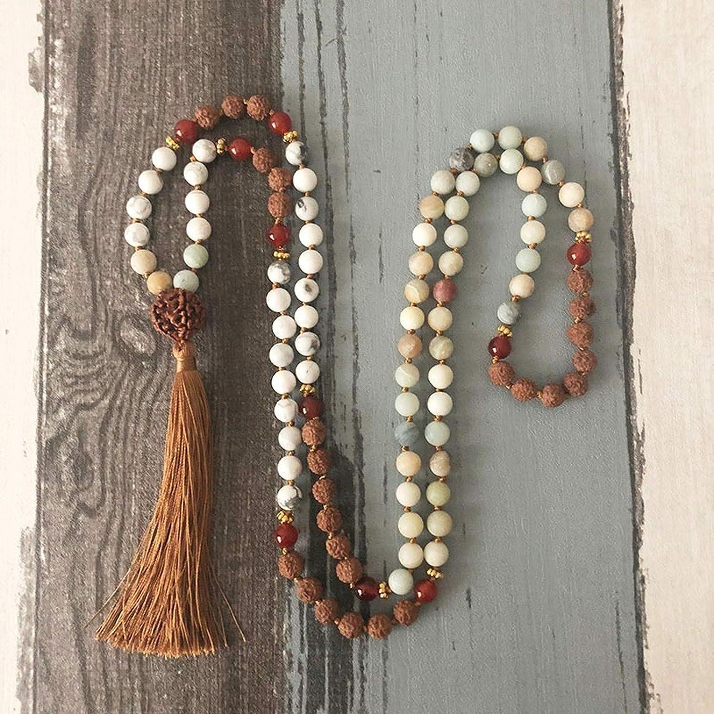 JONJUMP Stone Kontted Necklace Bodhi Seed Howlite Beaded 108 Mala Prayer Bead Tassel Necklace Collar