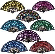 8pcs Éventails Espagnols Pliants Noir Bordée Paillettes Colorées Motif Paon pour Decoration Mariage Cadeau Danse