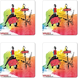 Ambesonne Retro Coaster Set of 4, Woman on a Pink Motorcycle Trend Vogue Fashion in Paris Eiffel Tower Art Print, Square Hardboard Gloss Coasters for Drinks, Orange and Red
