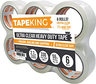 Tape King Crystal Clear Premium Packing Tape Refill 6 Rolls - Ultra Clear, Heavy Duty Packaging, Shipping, Sealing Cartons