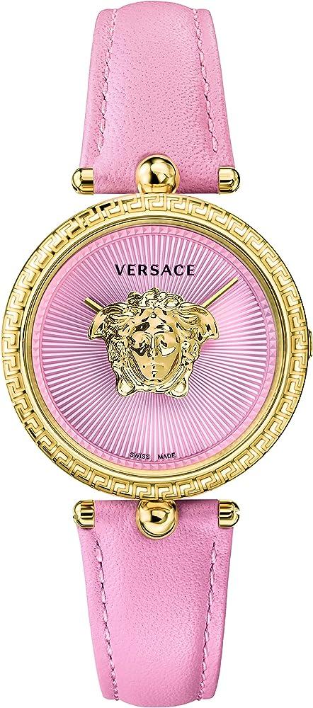 Versace palazzo empire,orologio da donna,cassa in acciaio ip oro giallo,cinturino in vera pelle VECQ00518