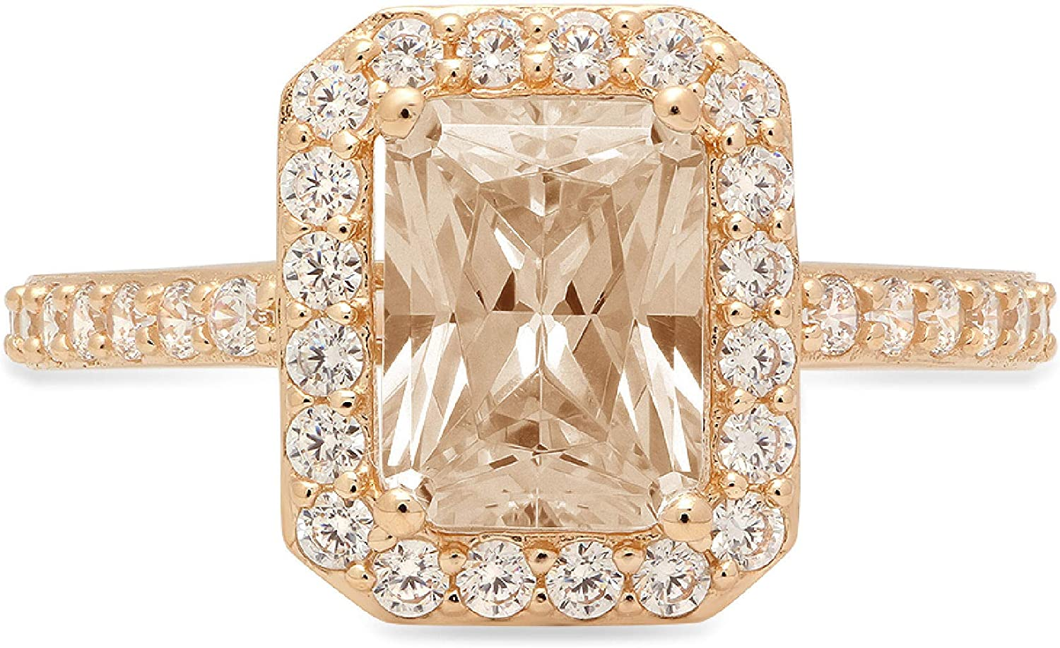2.04ct Brilliant Emerald Cut Solitaire Year-end gift Accent Ch Halo with Brown Al sold out.