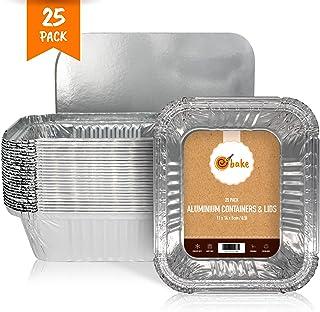 Bandejas de Papel de Aluminio pequeñas con Tapas Contenedores de Papel de Aluminio Desechables para la preparación de Alimentos, Hornear, almacenar y congelar - Paquete de 25