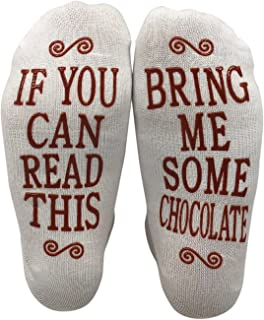 Msquared If You Can Read This Bring Me Some Chocolate Gift Socks - Perfect Hostess or Housewarming Gift Idea, Birthday Present, or Mother's Day Gift for a Chocolate Enthusiast,White,One Size fits most