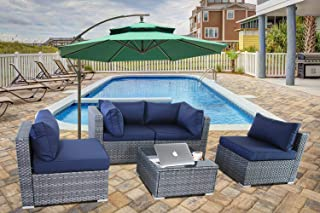 JETIME Outdoor Rattan Furniture 5pcs Patio Grey Conversation Set Garden Sofa Set Sectional Couch with Navy Cushion