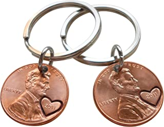 Double Keychain Set 2011 Penny Keychains With Heart Around Year, 8 year Anniversary