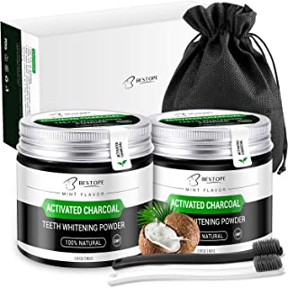MayBeau Teeth Whitening Powder, 2 Pack Natural Activated Charcoal Powder Mint Flavor, Menthol Charcoal Teeth Whitener with Toothbrush (4.2 Ounce)