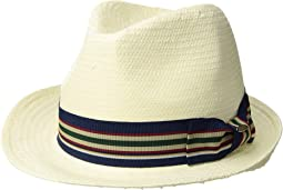 SCALA - Bu Toyo Fedora with Striped Ribbon Trim