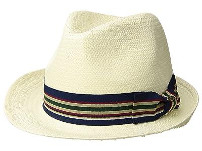 SCALA Bu Toyo Fedora with Striped Ribbon Trim (Ivory) Caps