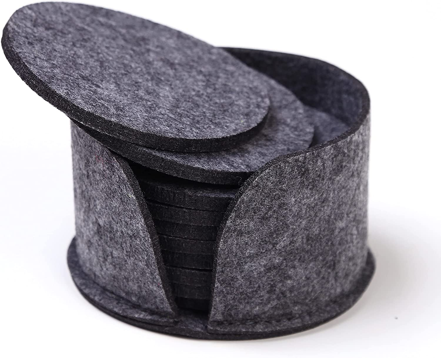 Coasters for Drinks, ReeLian Felt Fabric Coasters with Holder, Absorbent Cool Gray Coasters Set of 10, Cup Mat for Home and Bar Use