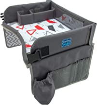 Kenley Kids Travel Tray, Toddler Car Seat Lap Tray, 16.5 x 13.5 Inches (Red/Gray)