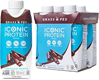 Iconic Protein Drinks, Chocolate Truffle (4 Pack) | Creamy, Low Calorie, Grass Fed, High Protein Shakes | Lactose Free, Gl...