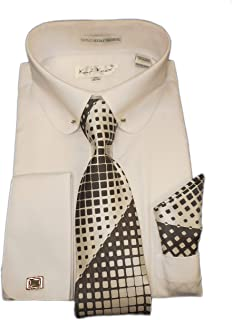 SX4404 Mens White Round Club Eyelet Collar French Cuff Woven-Look Dress Shirt + Tie Set