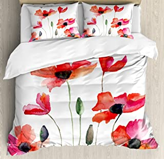 Ambesonne Watercolor Flower Duvet Cover Set, Poppies Wildflowers Nature Meadow Painting with Watercolor Effect, Decorative 3 Piece Bedding Set with 2 Pillow Shams, Queen Size, Orange Green
