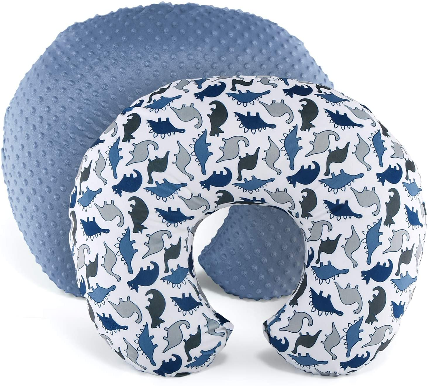 The Peanutshell Nursing Pillow Cover Set for Baby Boys or Girls   Dinosaur & Navy Blue Minky Dot   Unisex 2 Pack
