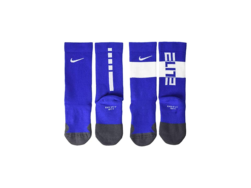 Nike Kids Elite Crew Socks 2-Pair Pack (Little Kid/Big Kid) (Game Royal/White) Kids Shoes