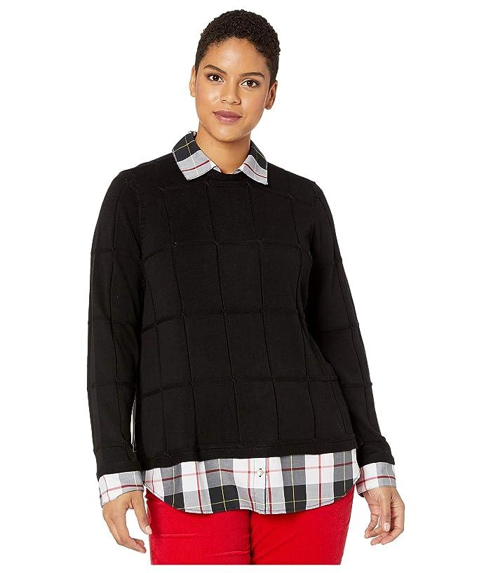 Foxcroft  Plus Size Shoshana Sinclair Tartan Twofer Sweater (Black) Womens Clothing
