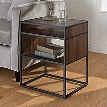 WE Furniture Modern Square Open Shelf Side End Table for Living Room Bedroom, 20, Dark Walnut