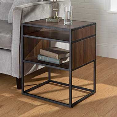 Walker Edison Furniture Company Industrial Modern Metal Frame Wood Rectangle Side Accent Set Living Room Storage Shelf End Table, Walnut Brown